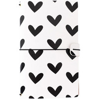 Freckled Fawn Sleek Traveler's Notebook, Black & White Hearts