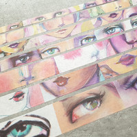 Jane Davenport Mixed Media Washi Tape Rolls, Faces, 7 rullaa