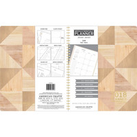 American Crafts - 2018 Weekly/Monthly Planner, Geo Wood Grain With Gold Foil