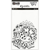 Dyan Reaveley's - Black & White Birds & Flowers, Dylusions Creative Dyary Die Cuts