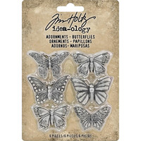 Tim Holtz - Idea-Ology Metal Adornments, Butterflies, 6 kpl