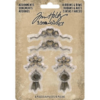Tim Holtz - Idea-Ology Metal Adornments, Ribbons & Bows, 6 kpl