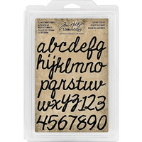 Tim Holtz - Cling Foam Stamps, Cutout Script Alpha & Numbers, Leimasetti