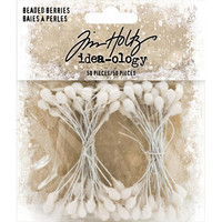 Tim Holtz - Idea-Ology Beaded Berry Stems, White 2.5