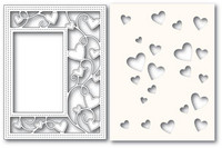 Poppy Stamps - Ribbon Heart Sidekick Frame and Stencil, Stanssi