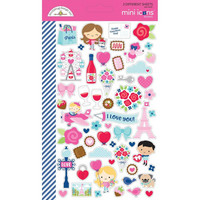 Doodlebug - Mini Cardstock Stickers, French Kiss, 2 arkkia