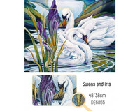 Collection D'Art - Swans and Iris, Timanttimaalaus, 48x38cm
