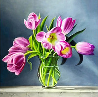 Collection D'Art - Spring Tulips, Timanttimaalaus, 38x38cm