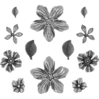 Tim Holtz - Idea-Ology Metal Adornments, Floral, 12 kpl