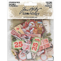 Tim Holtz - Idea-Ology Ephemera Pack, Christmas Snippets, 81 kpl