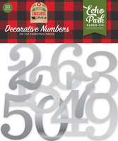 Echo Park - My Favorite Christmas, Decorative Numbers, Silver Foil, 53 kpl