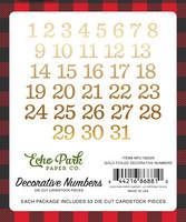 Echo Park - My Favorite Christmas, Decorative Numbers, Gold Foil, 53 kpl