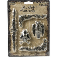 Tim Holtz - Idea-Ology Metal Faucet Adornments, Antique Nickel Halloween Accents, 5 kpl