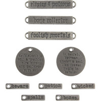 Tim Holtz - Idea-Ology Metal Faucet Adornments, Antique Nickel Halloween Words, 10 kpl