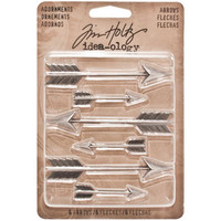 Tim Holtz - Idea-Ology Metal Faucet Adornments, Antique Nickel Arrow, 6 kpl