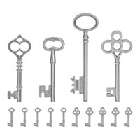 Tim Holtz - Idea-Ology Metal Faucet Adornments, Silver Keys, 14 kpl