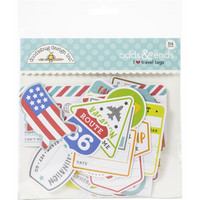 Doodlebug - I Heart Travel Tags, Odds & Ends Die-Cuts, 54 osaa