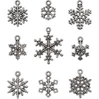 Tim Holtz - Idea-Ology Metal Adornments, Antique Nickel Snowflakes, 9 kpl