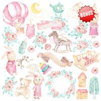 Fabrika Decoru - Dreamy Baby Girl , 8'x8', Paperikko