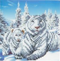Craft Buddy - White Tigers (O)(P), Timanttityökortti, 18x18cm