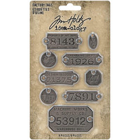 Tim Holtz - Idea-Ology Metal Factory Tags, 9 kpl