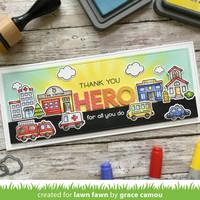 Lawn Fawn - Village Heroes, Leimasetti