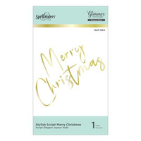 Spellbinders - Glimmer Hot Foil Plate, Stylish Script Merry Christmas