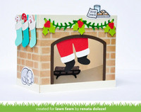 Lawn Fawn - Shadow Box Card Fireplace Add-on, Stanssisetti