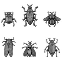 Tim Holtz - Idea-Ology Metal Adornments, Entomology, 6 kpl