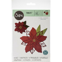 Sizzix - Thinlits Dies By Lisa Jones, Stanssisetti, Poinsettia