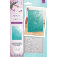 Crafter`s Companion - Nature's Garden Peacock 3D Embossing Folder, Kohokuviointitasku, Regal Peacock
