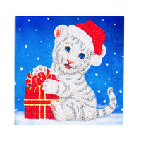 Craft Buddy - Christmas White Tiger (O)(P), Timanttityökortti, 18x18cm