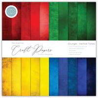 Craft Consortium - Essential Craft Papers, Grunge Festive Tones, 12