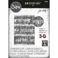 Sizzix - 3D Texture Fades Embossing Folder By Tim Holtz, Kohokuviointitasku, Typewriter