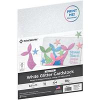 PrintWorks - Printable Glitter Cardstock, Letter, Valkoinen, 15 arkkia