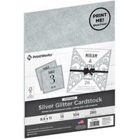 PrintWorks - Printable Glitter Cardstock, Letter, Hopea, 15 arkkia