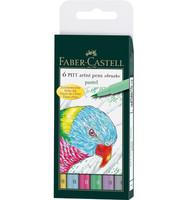 Faber-Castell - PITT Artist Pen Brush, Pastel, 6kpl