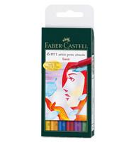 Faber-Castell - PITT Artist Pen Brush, Basic, 6kpl