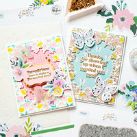 Pinkfresh Studio - Cling Rubber Stamp, Happy Blooms Frame, Leimasetti