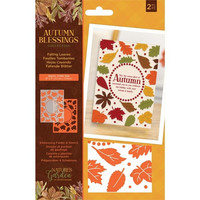 Crafter`s Companion - Autumn Blessings, Kohokuviointitasku- ja Sapluunasetti, Falling Leaves