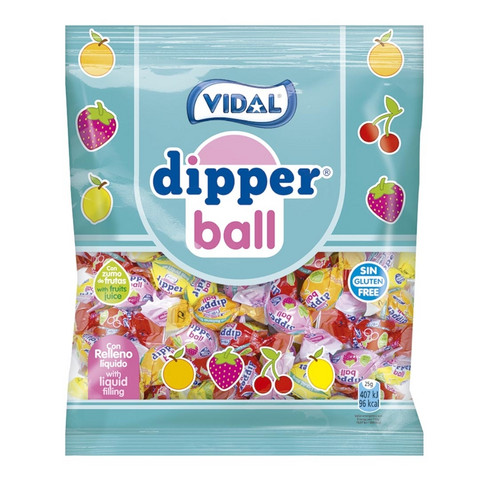 Dipper Ball hedelmätoffee pussi 70g 14pussia, Vidal
