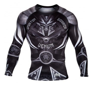 Venum Gladiator 3.0 Rashguard - Black/White - Long Sleeves