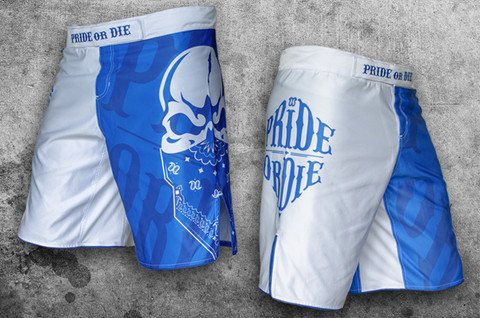 POD Reckless fight short white/blue