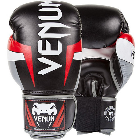 VENUM Elite Boxing Gloves black-grey-red