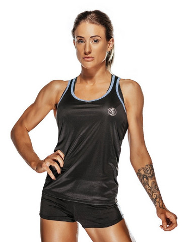 Bad Girl Racer Vest Top - Black/Blue