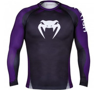 Venum No Gi Rash Guard IBJJF Approved - Long Sleeves - Black/Purple