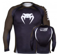 Venum No Gi Rash Guard IBJJF Approved - Long Sleeves - Black/Brown