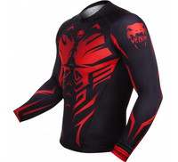 Venum Shadow Hunter Rash Guard - Black/Red - Long Sleeves