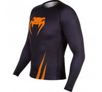 Venum Challenger Rash Guard - Black/Orange - Long Sleeves
