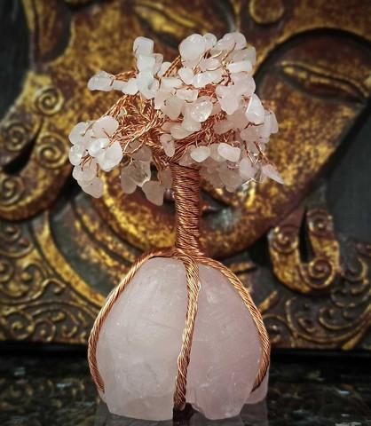 Elämänpuu, ruusukvartsi 130 mm